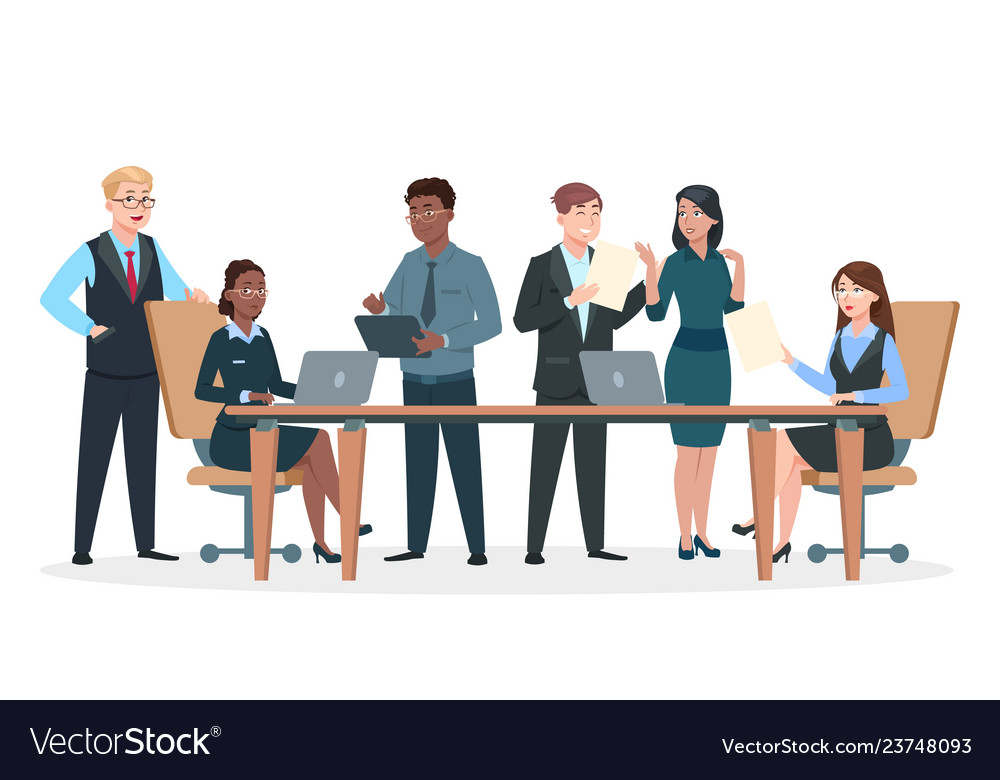 Business persons in office flat characters