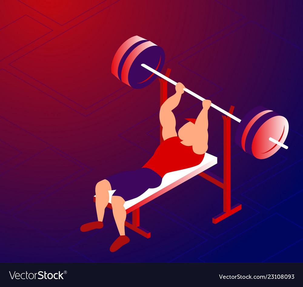 Cartoon sportsman training bench-press for bigger