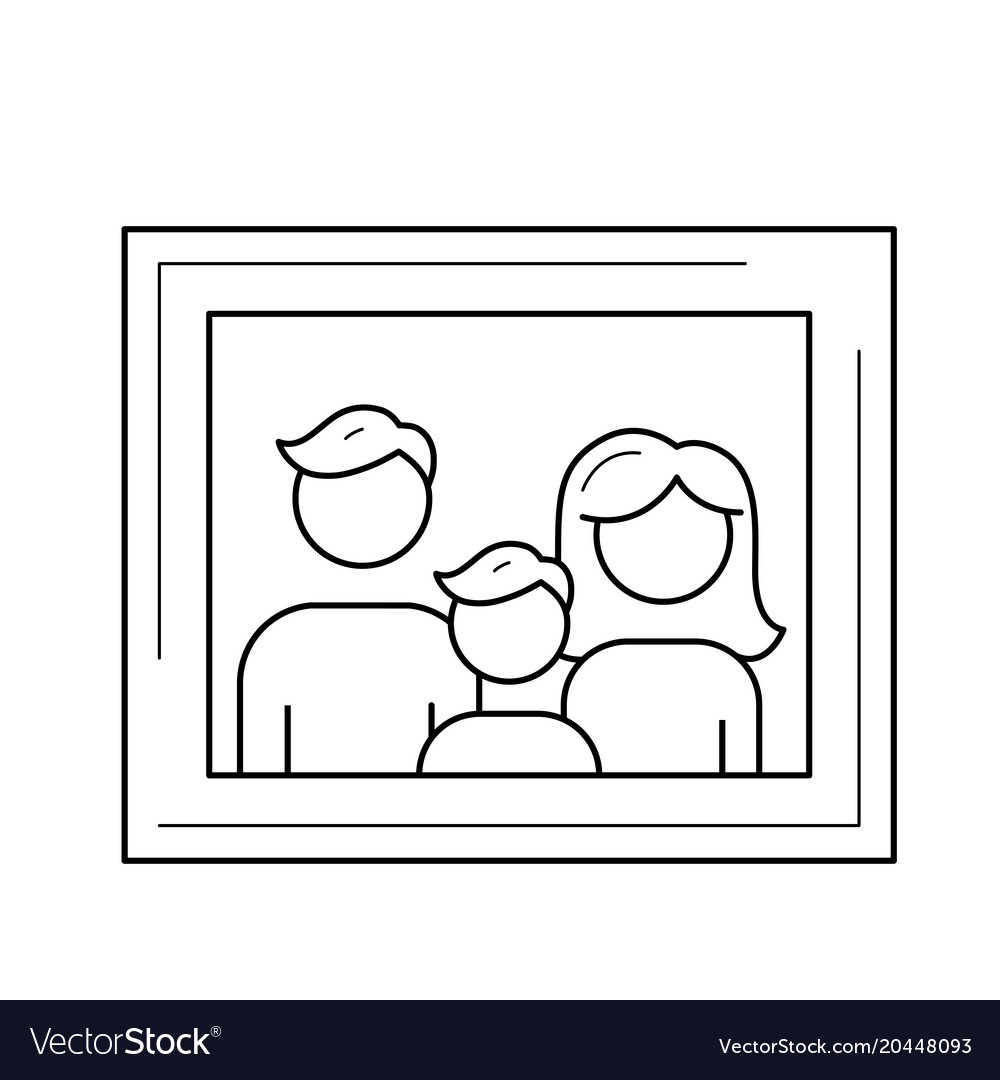 Family Photo Frame Line Icon Royalty Free Vector Image