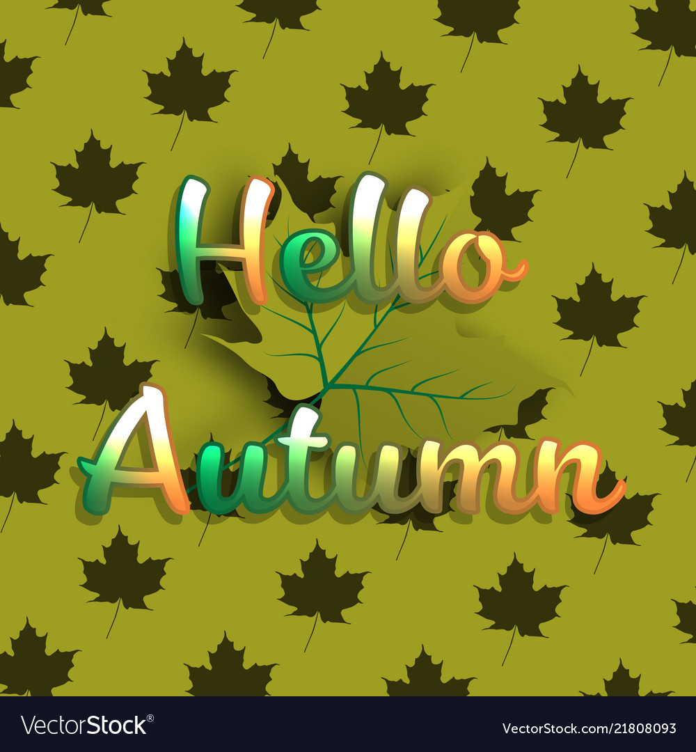 Hello autumn banner background with green maple