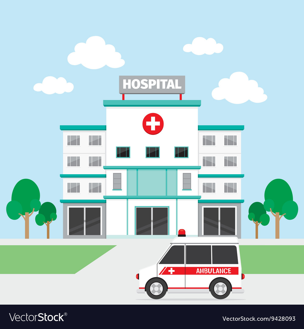 Hospital Building And Ambulance