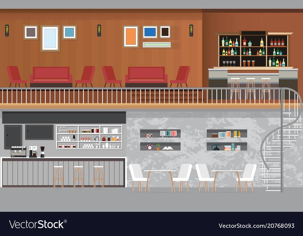 Modern Cafe Shop Interior Royalty Free Vector Image