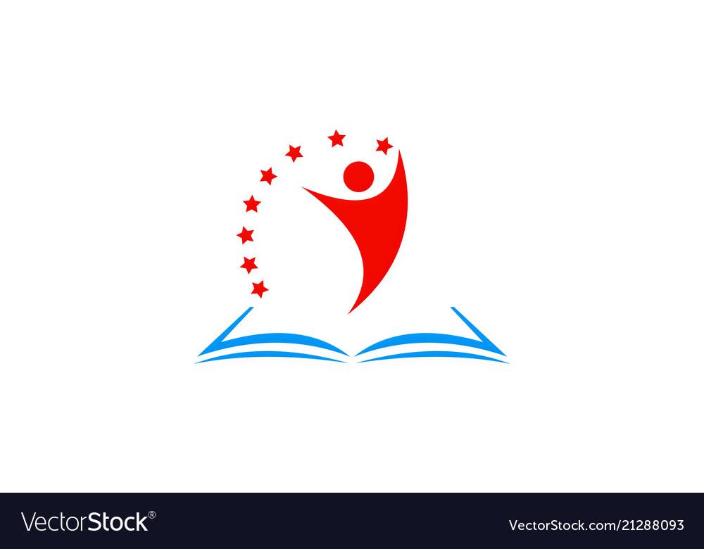 Open book student star logo
