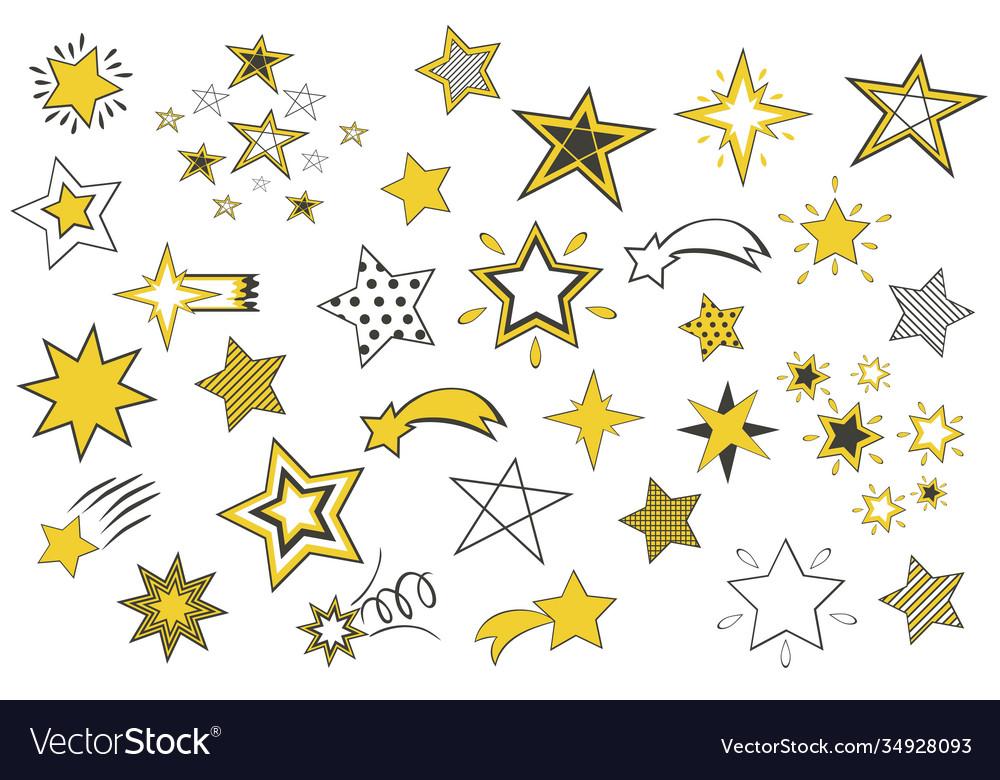 Set cartoon stars isolated