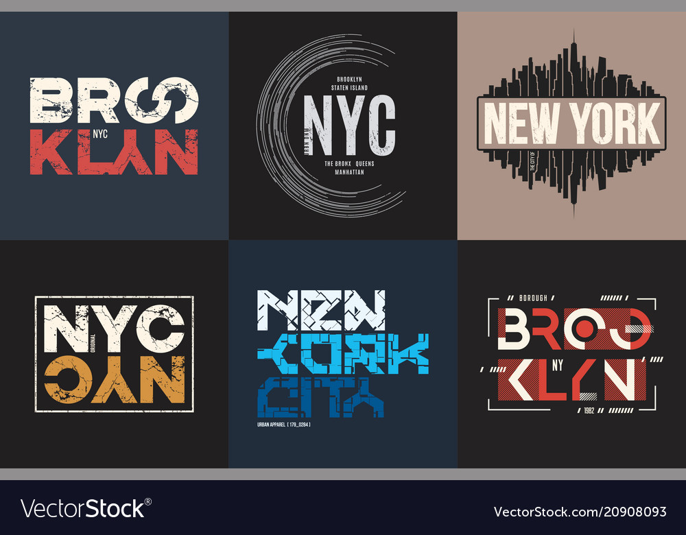 Set of six styled new york and brooklyn t