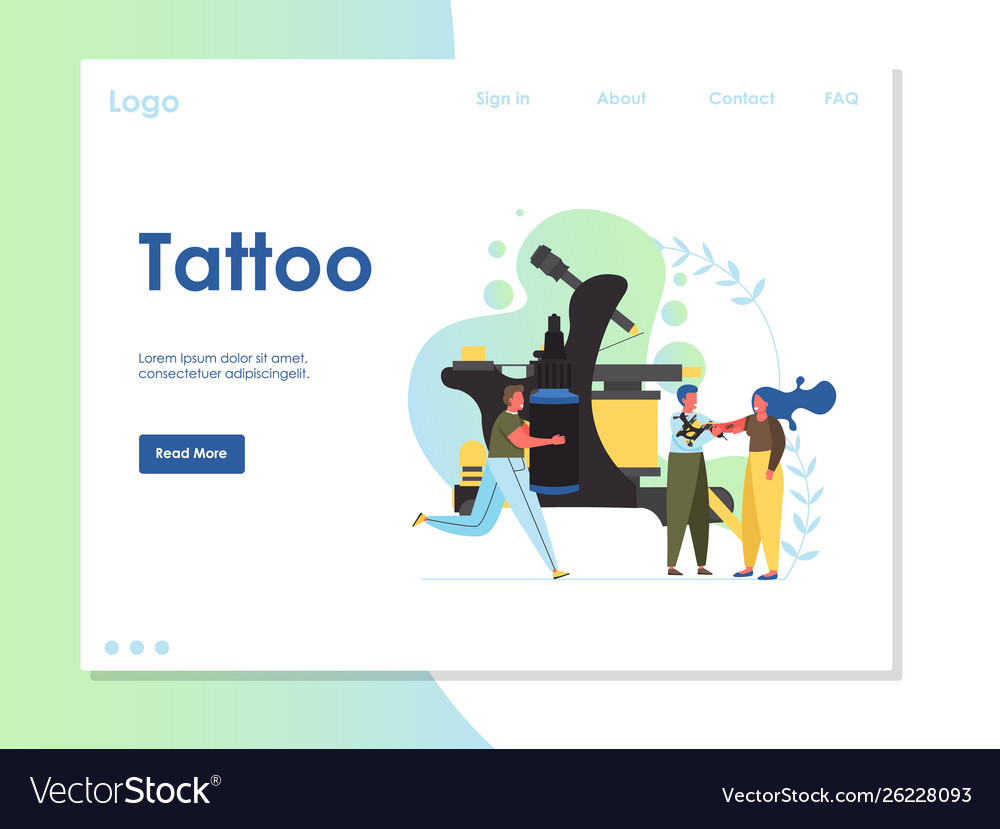 Tattoo website landing page design template