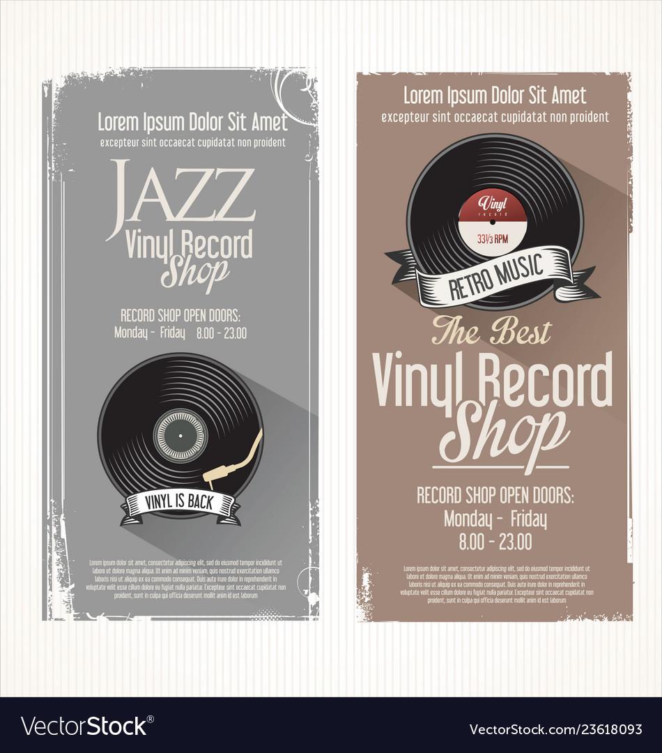 Vinyl record shop retro grunge banner