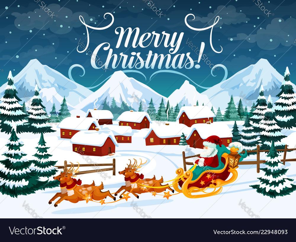 Winter town christmas santa sleigh and deers