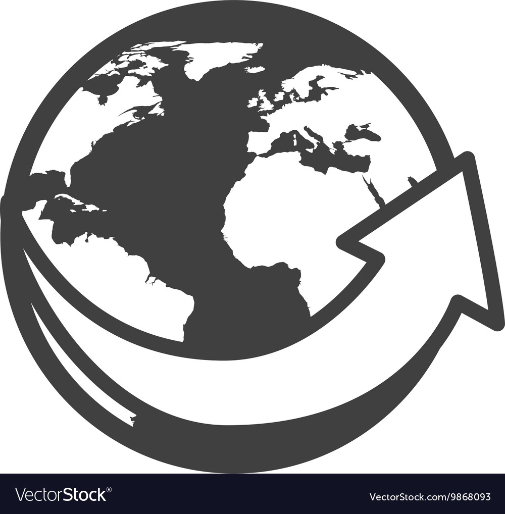 World planet earth arrow around icon