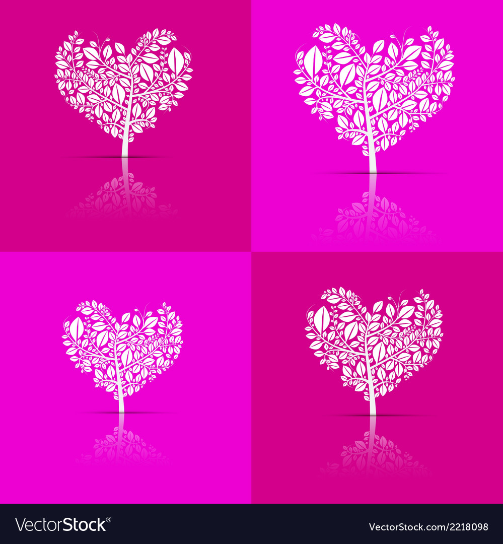 Abstract Heart-Shaped Tree Set on Violet and Pink