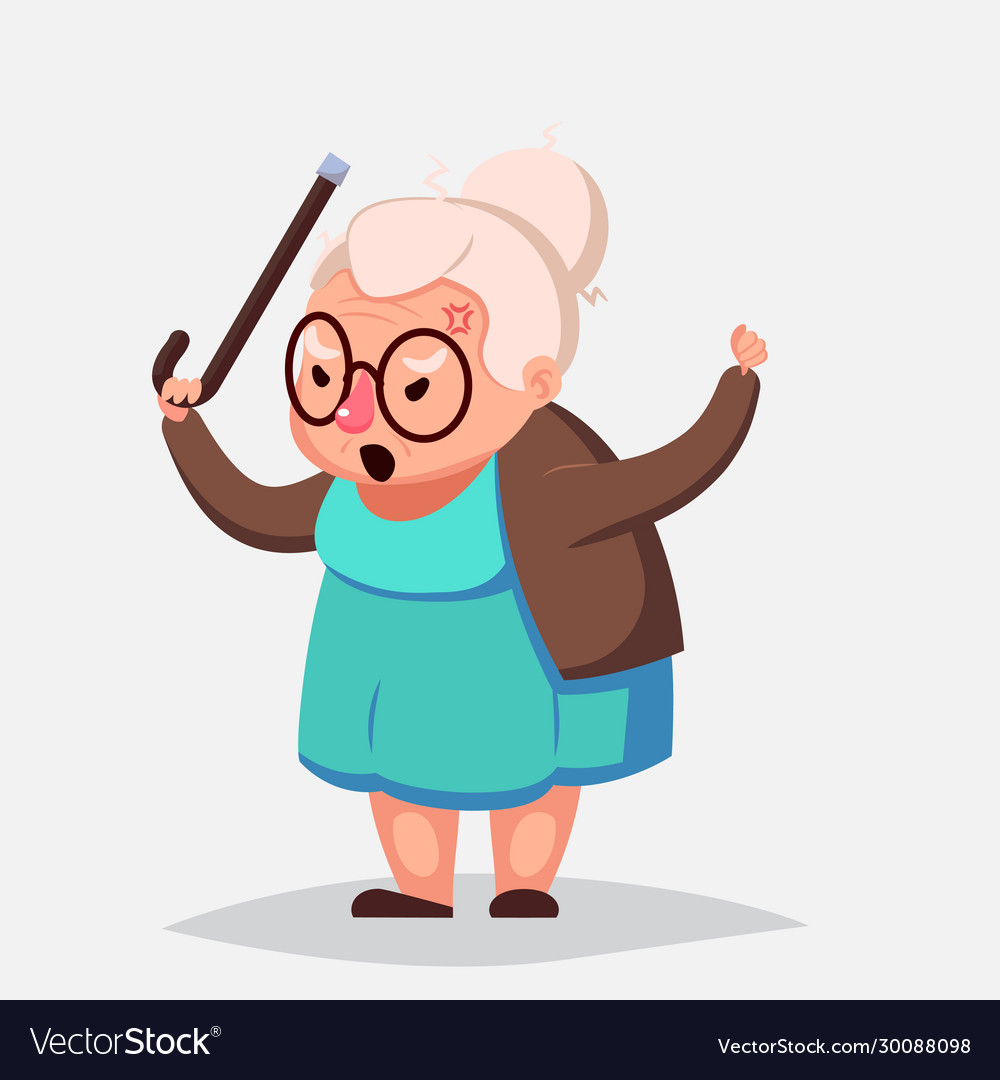 Cartoon Angry Old Woman Brandishing Her Cane Vector Image