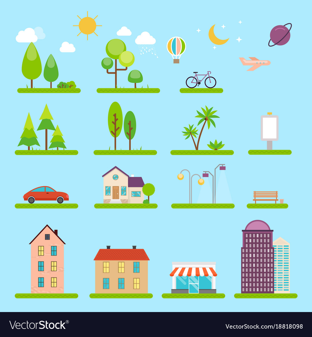 City in flat style icons and