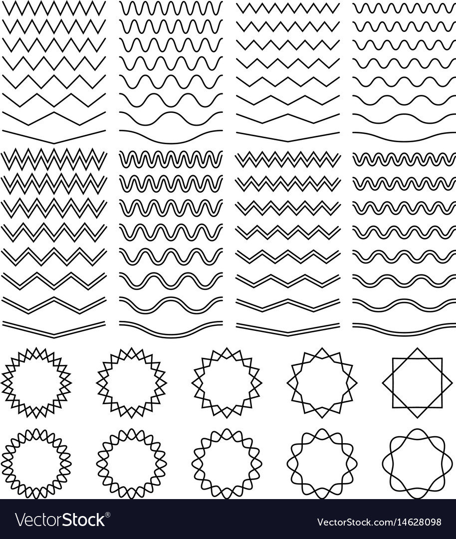 Curvy waves and zigzag striped lines and round vector image