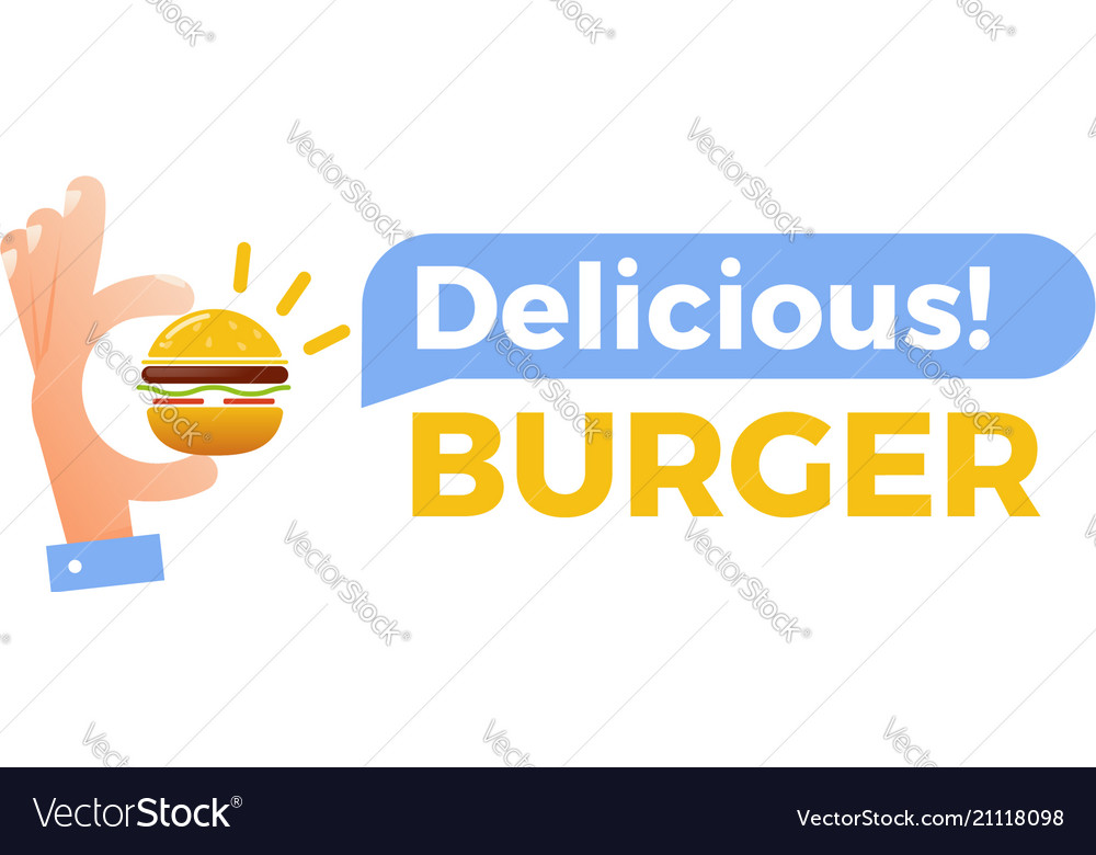Delicious burger hand with a small hamburger