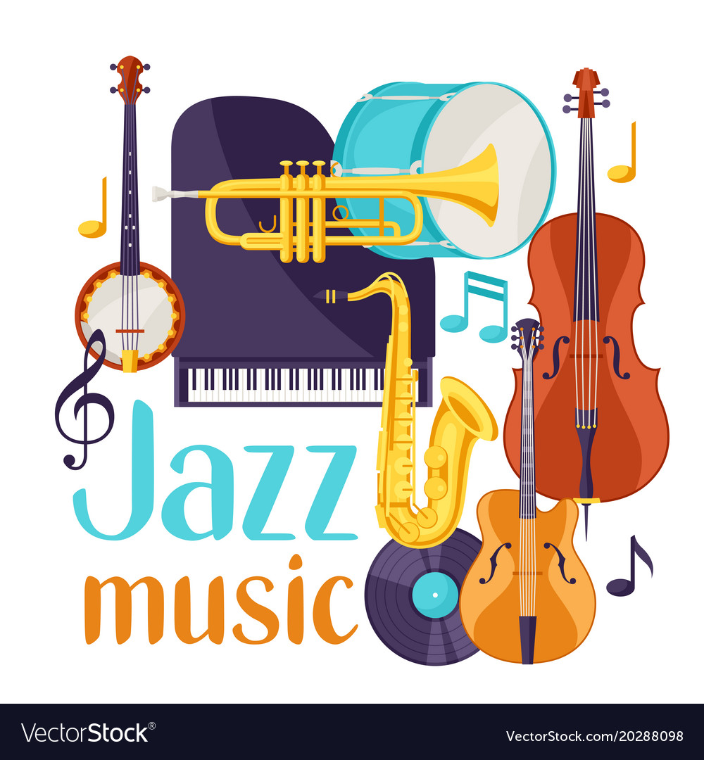 Jazz music festival background with musical