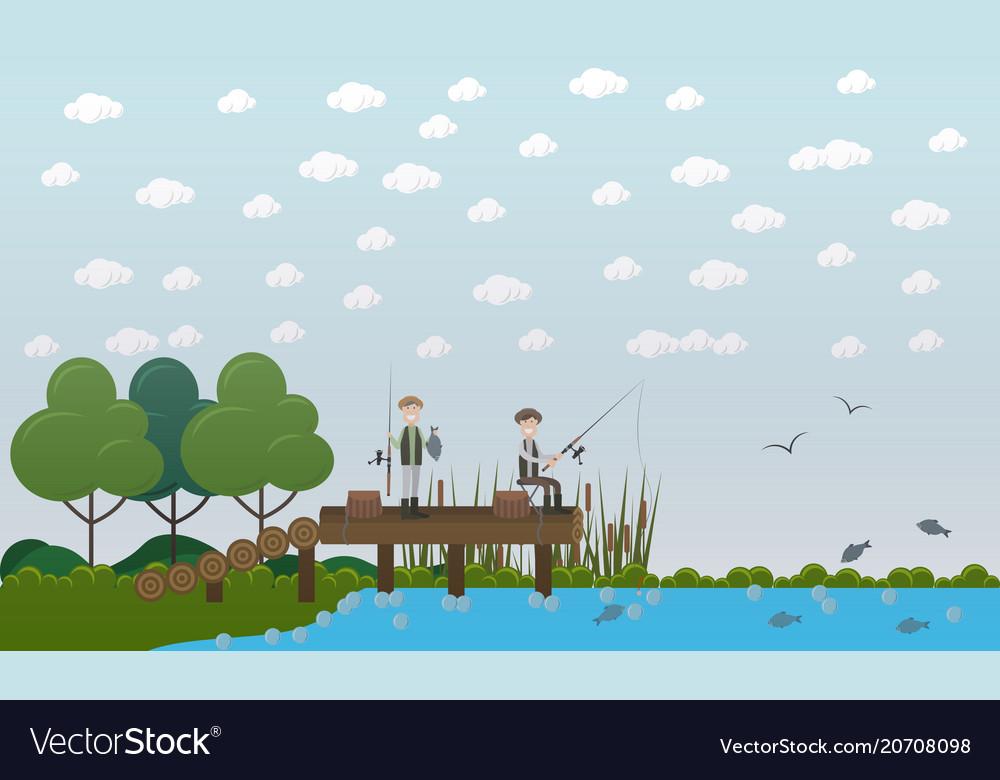 Men fishing on pier flat