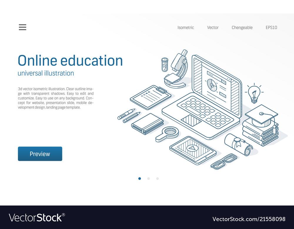 Online education modern isometric line