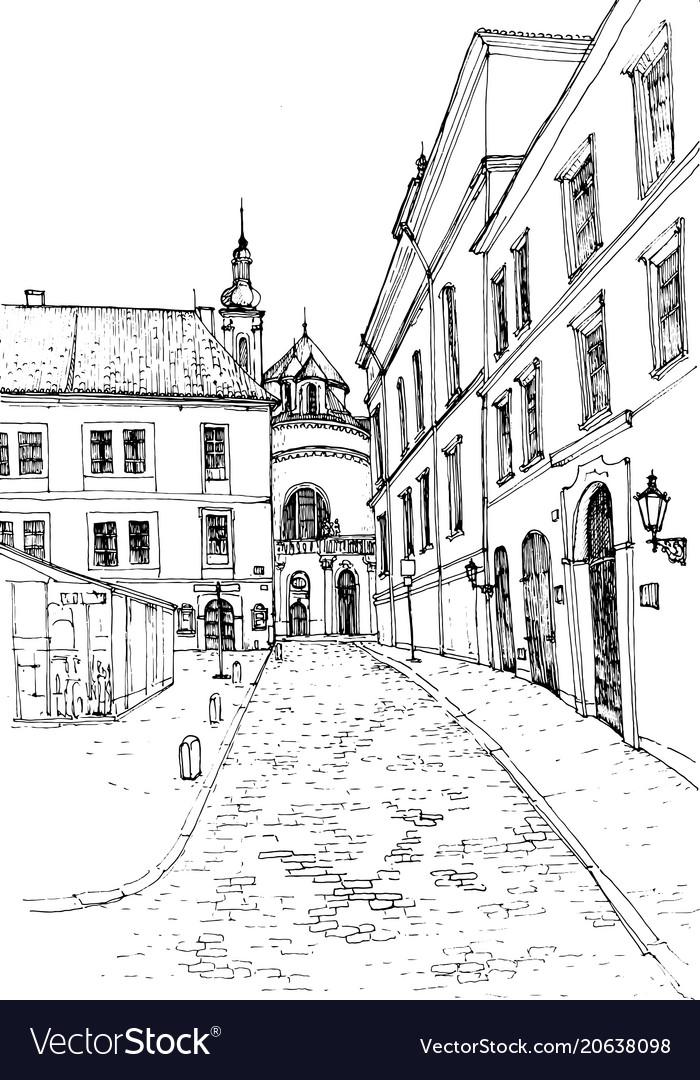 Sketch old european city
