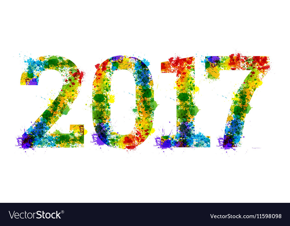 Year Colourful bright ink splat design on white vector image
