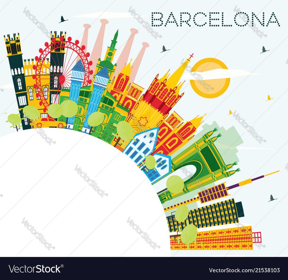 Barcelona skyline with color buildings blue sky