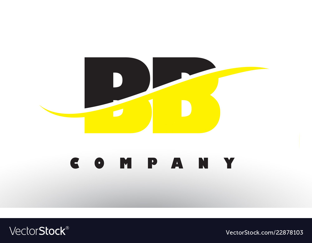 fd5505c914628 Bb b b black and yellow letter logo with swoosh Vector Image