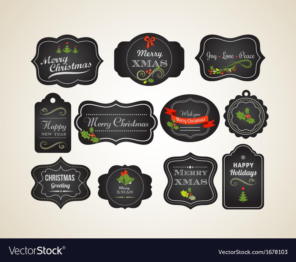 Chalkboard christmas vintage invitation and labels chalkboard christmas vintage invitation and labels vector image stopboris Images