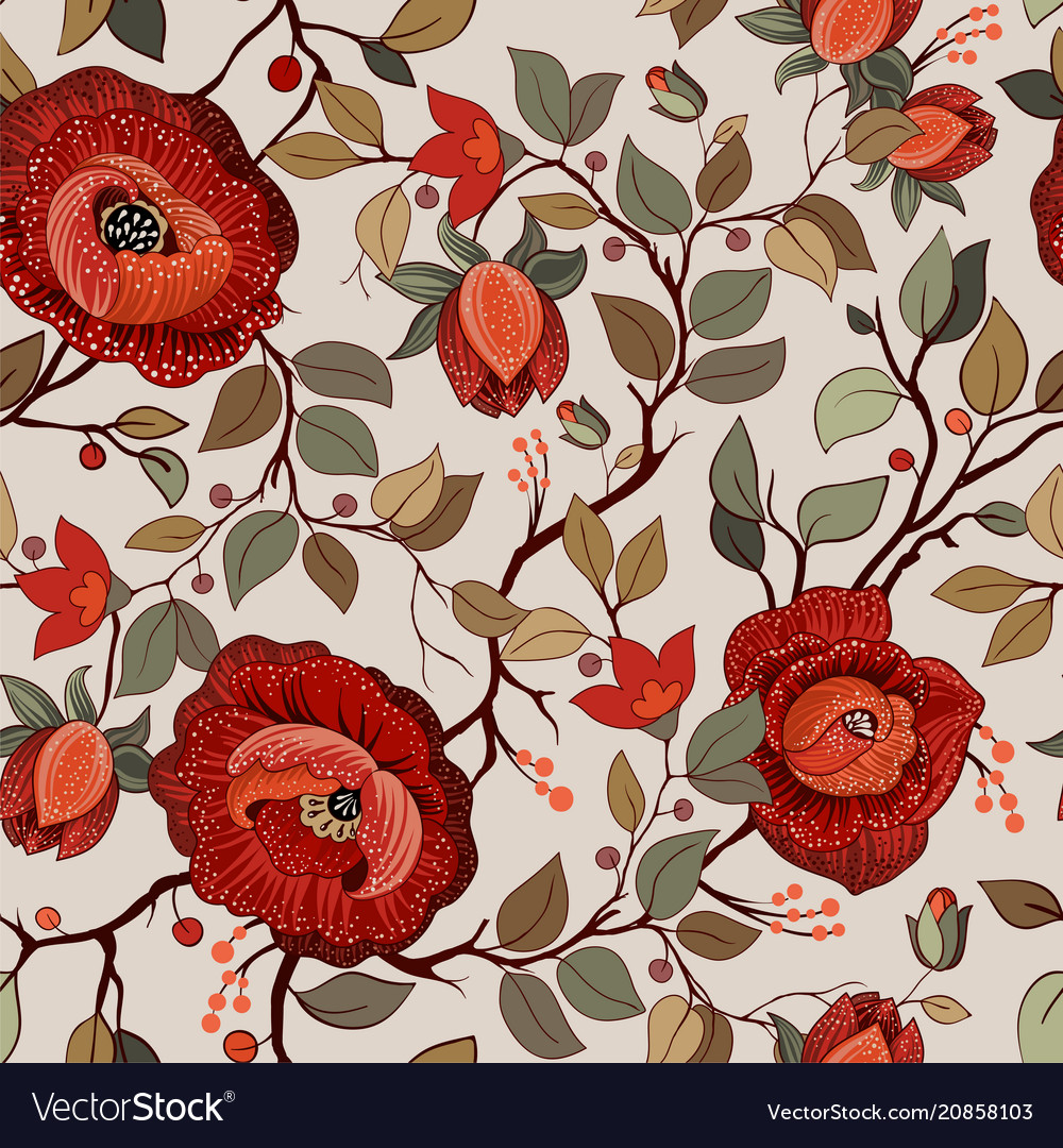 Colorful floral pattern wallpaper with