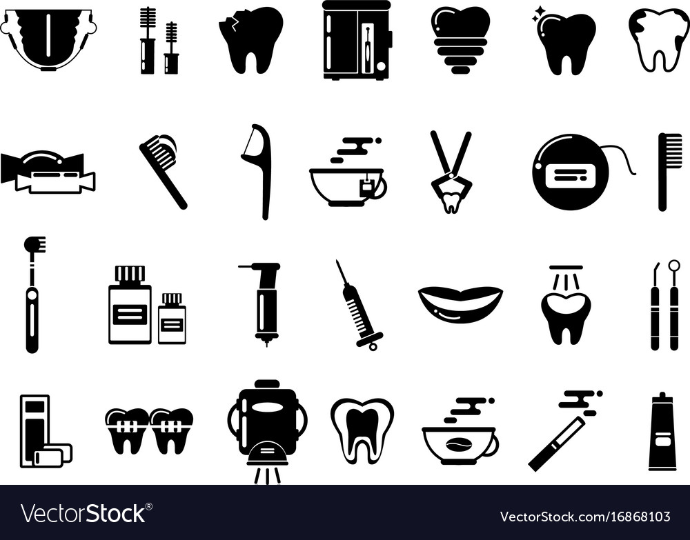 Dental monochrome pictures healthcare vector image