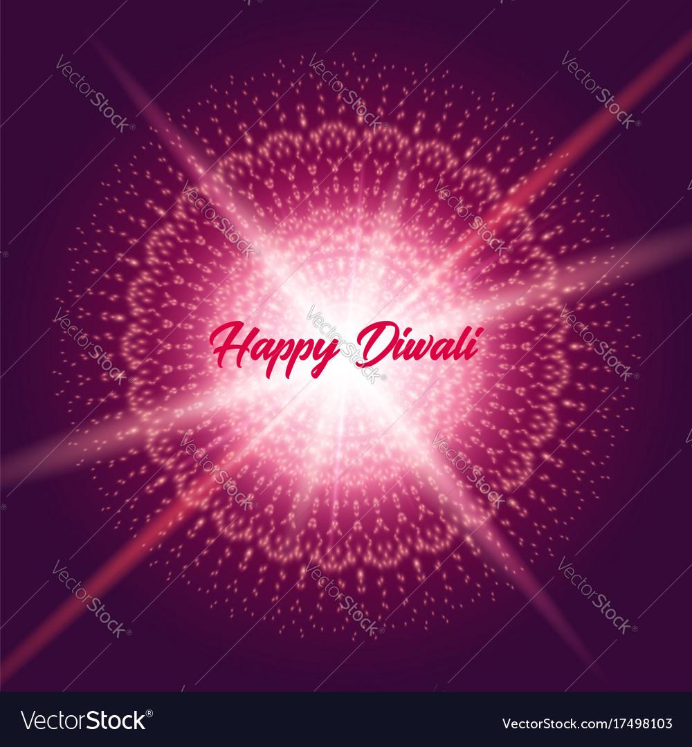 Diwali Greeting Card With Shine Rangoli Royalty Free Vector