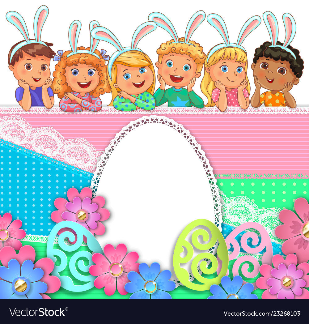 Easter bright egg design of paper lace flowers