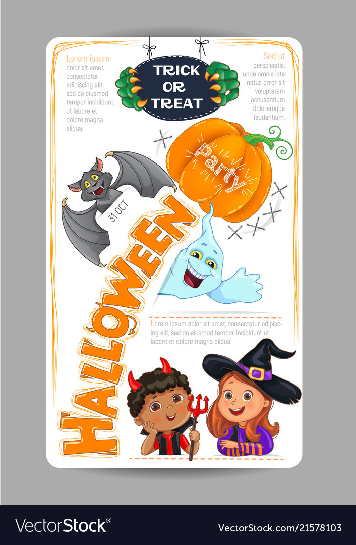 halloween party design with cute kids invitation vector image