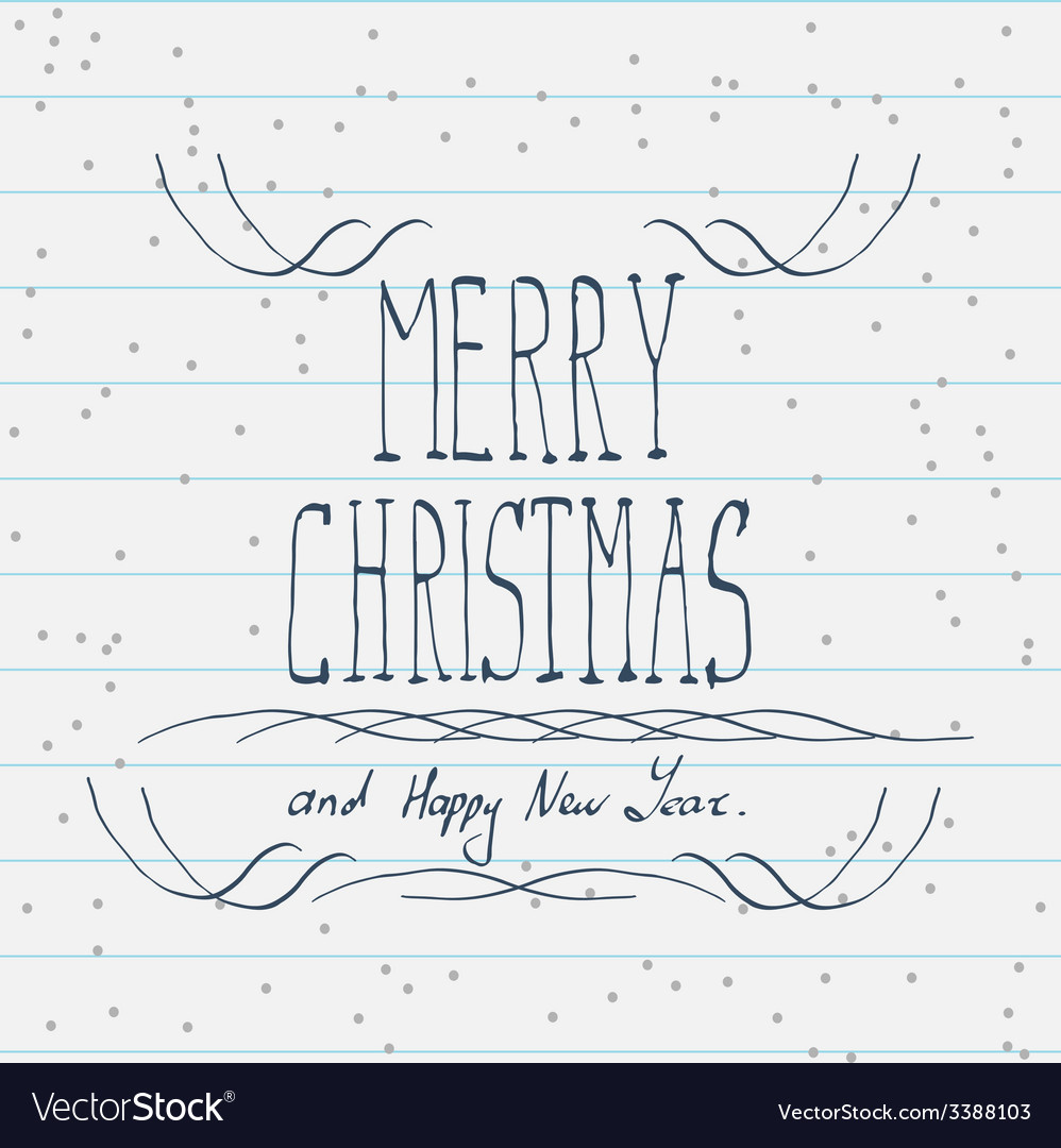 Hand drawn Merry Christmas sketch vector image