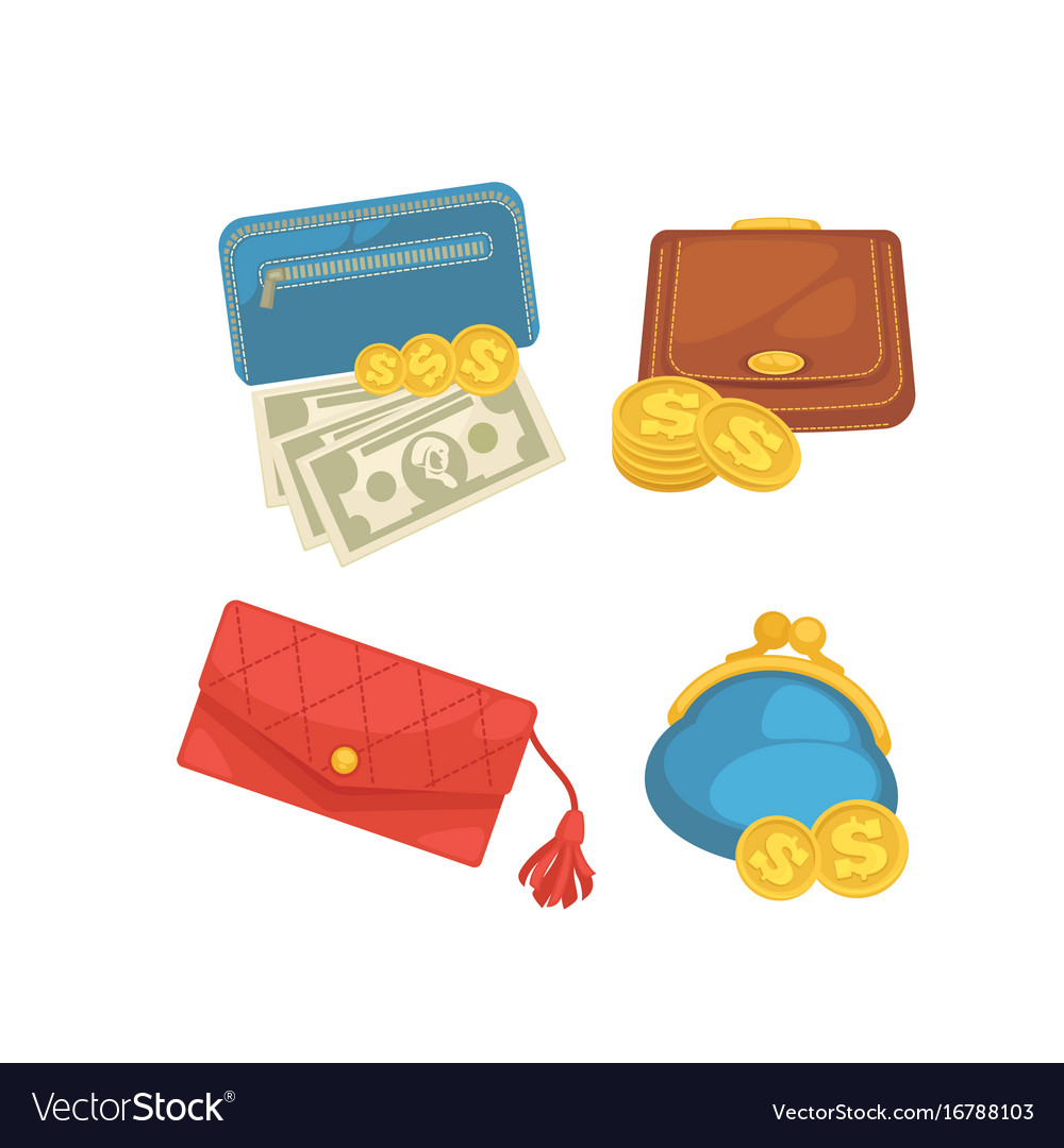 Icons set of wallets with money shopping