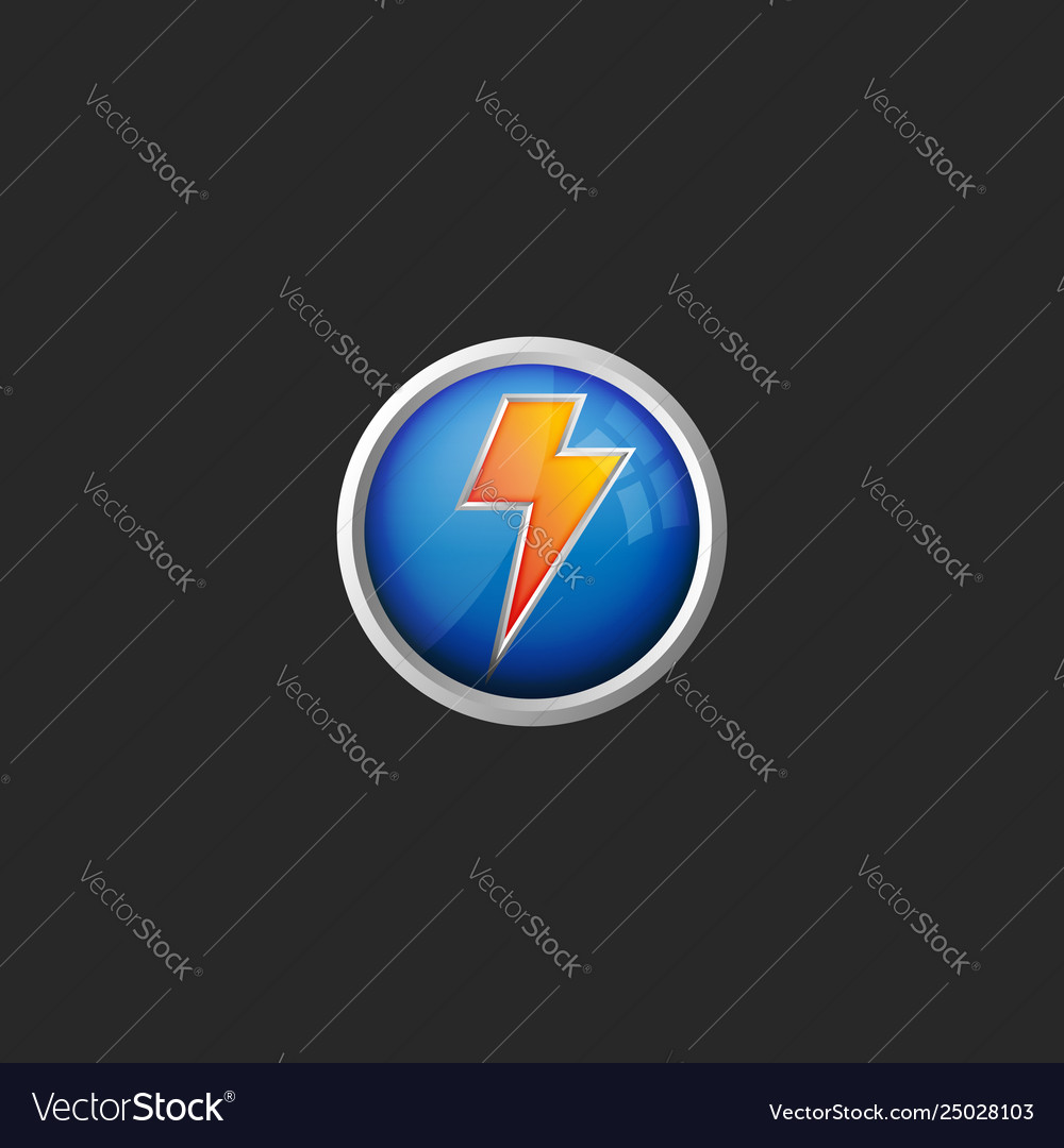 Lightning logo 3d round glass button icon battery