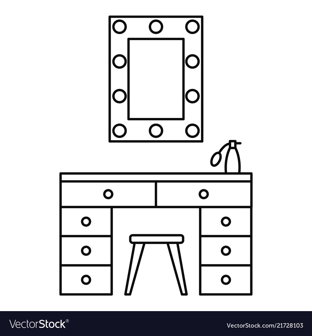 Make up room mirror table icon outline style