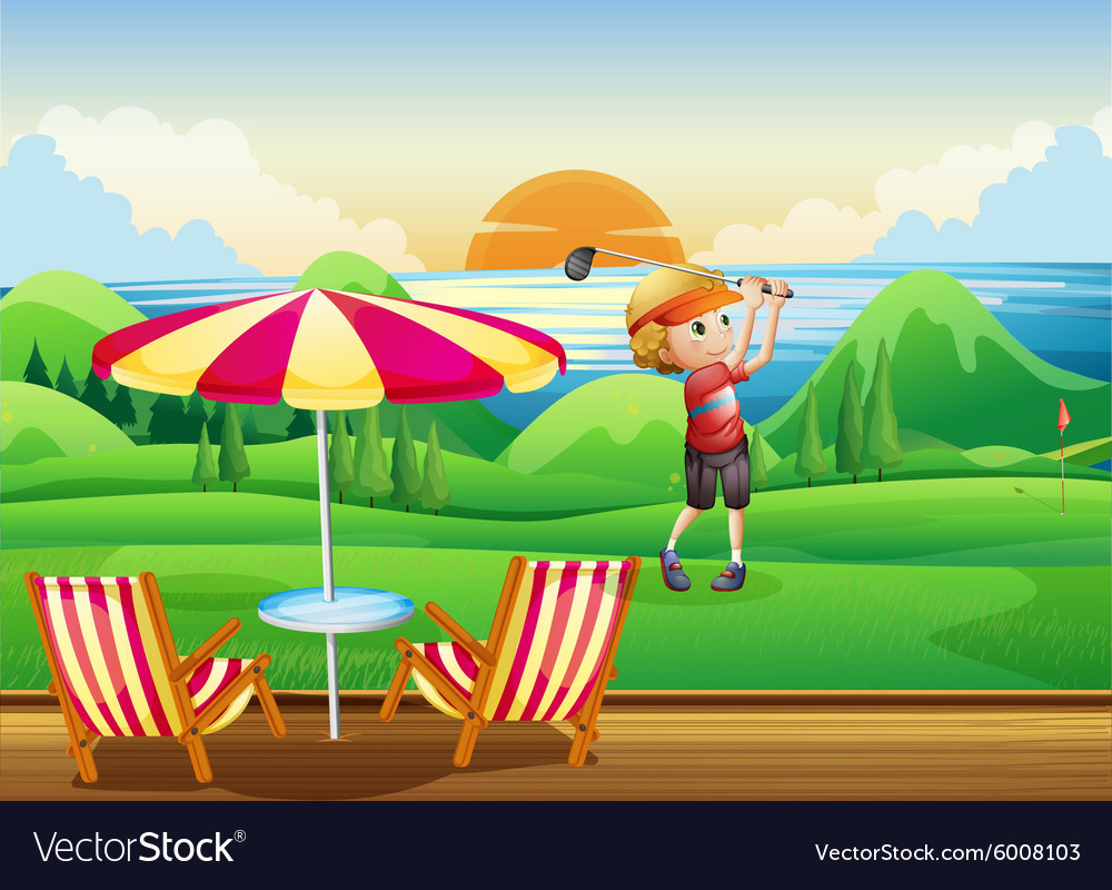 Man playing golf on green vector image