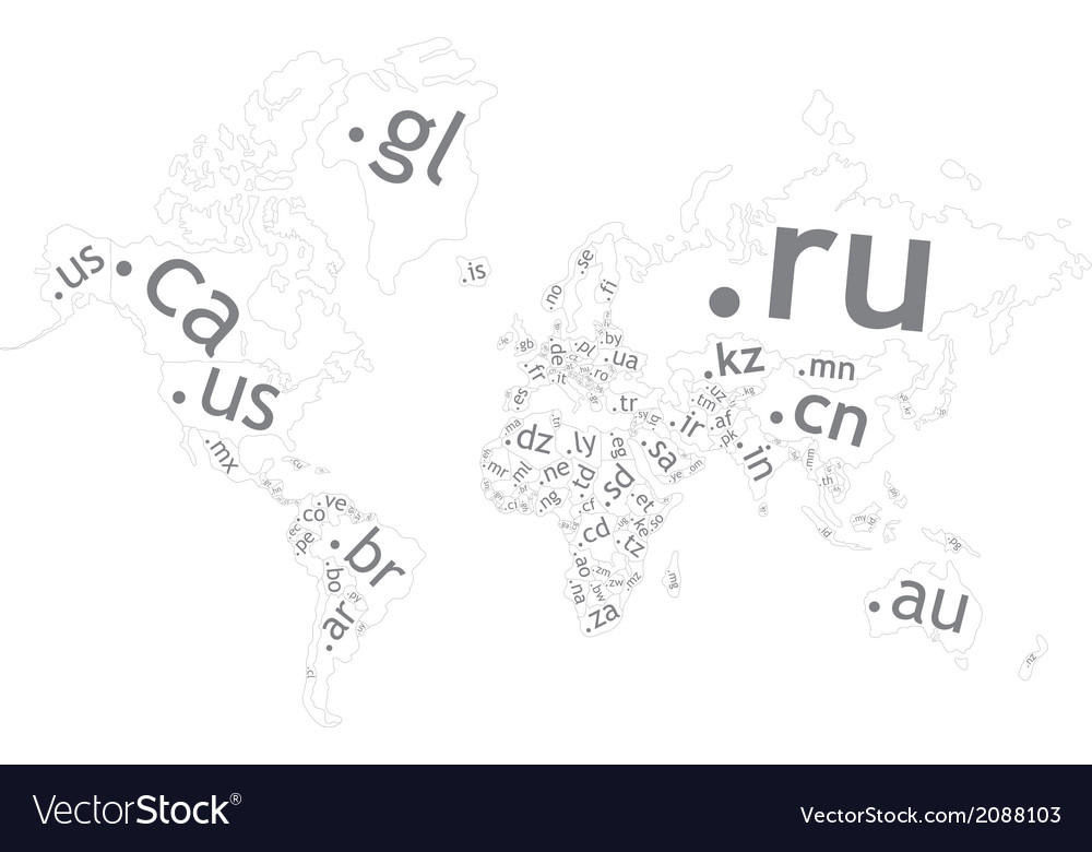 Map of the world top-level domain vector image