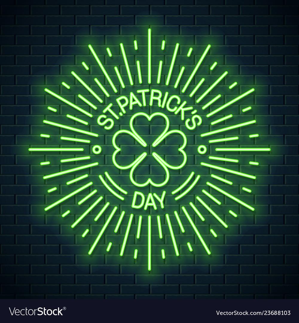 Patricks day neon logo patricks shamrock clover