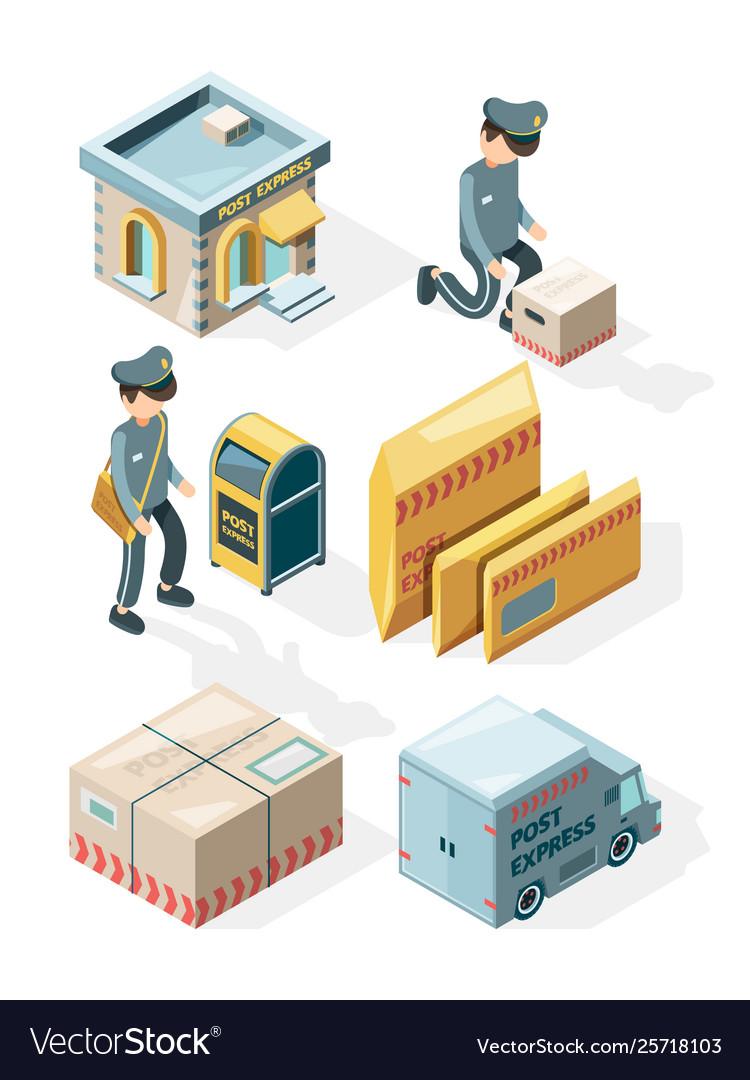 Postal service cargo delivery office postcards