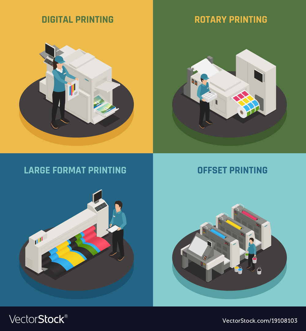 Printing house 4 isometric icons vector image