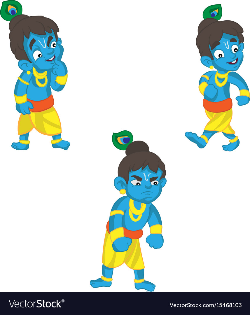set of little krishna cartoon on a royalty free vector image