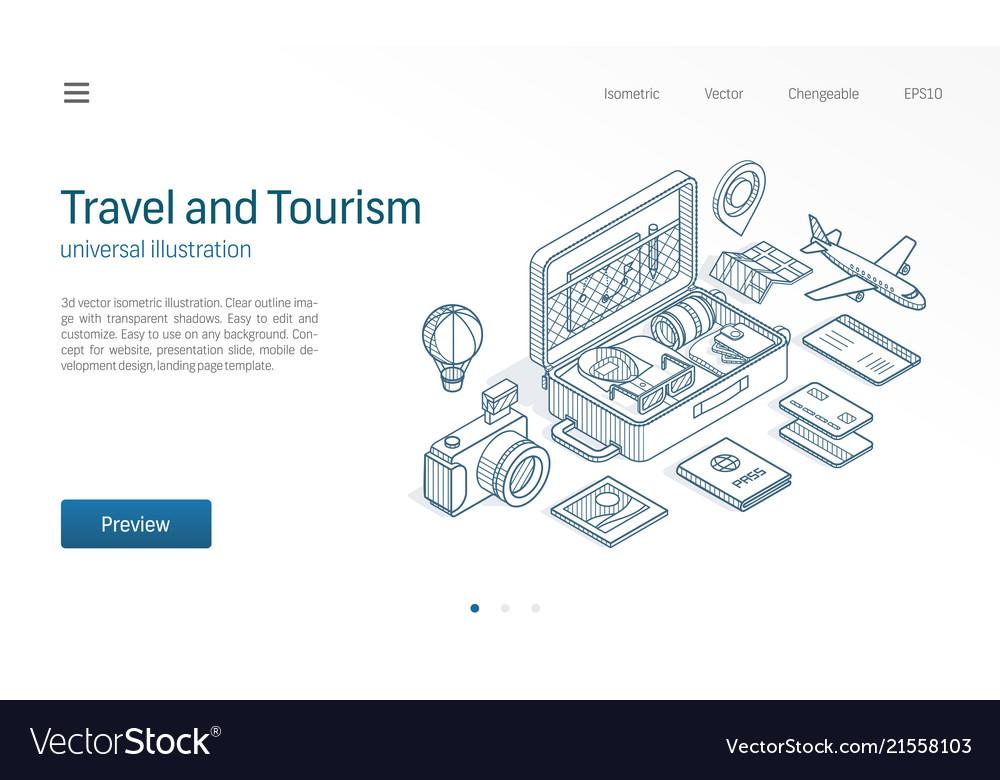 Travel tourism business modern isometric line
