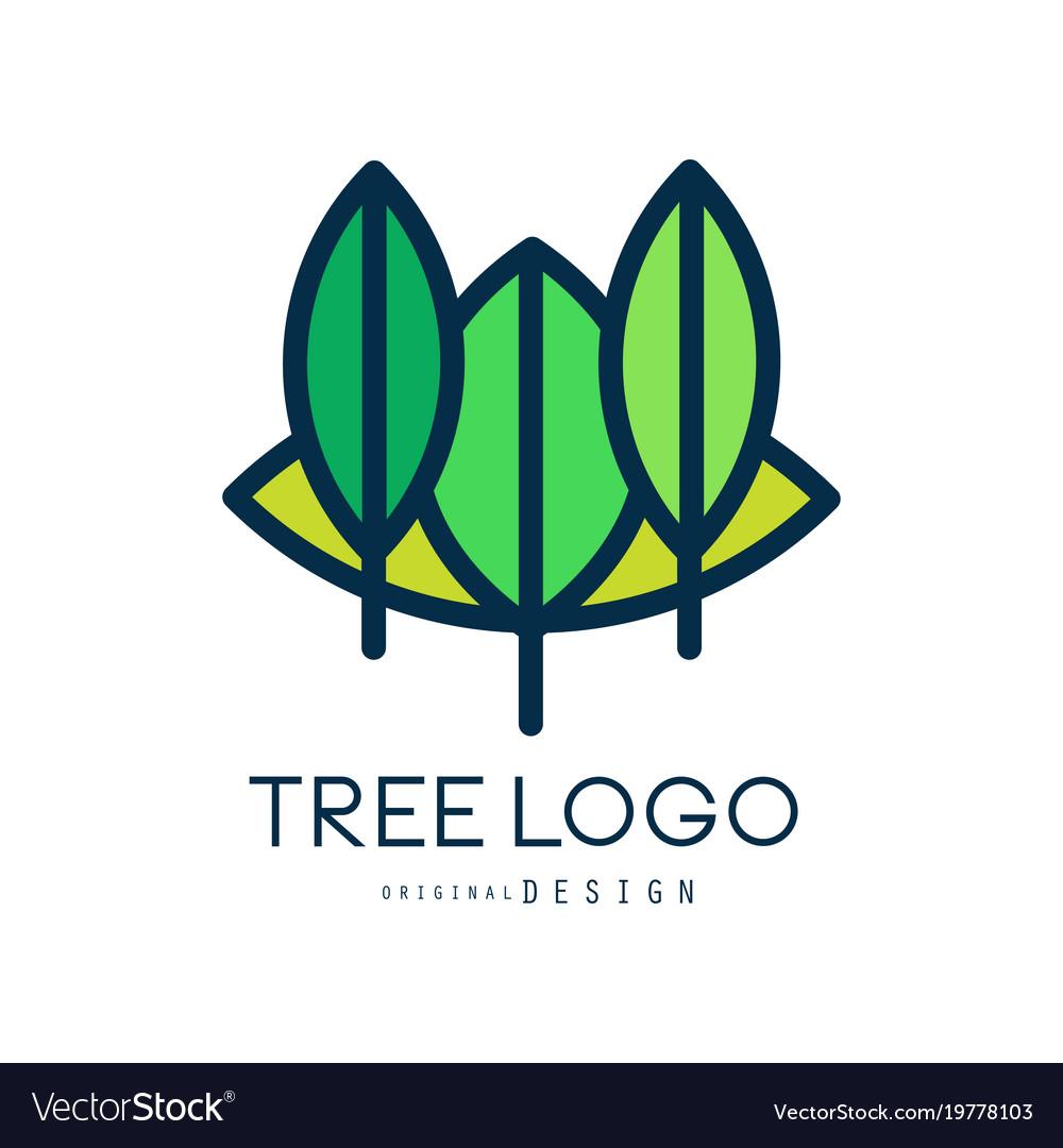 Tree logo original design eco bio badge abstract vector image