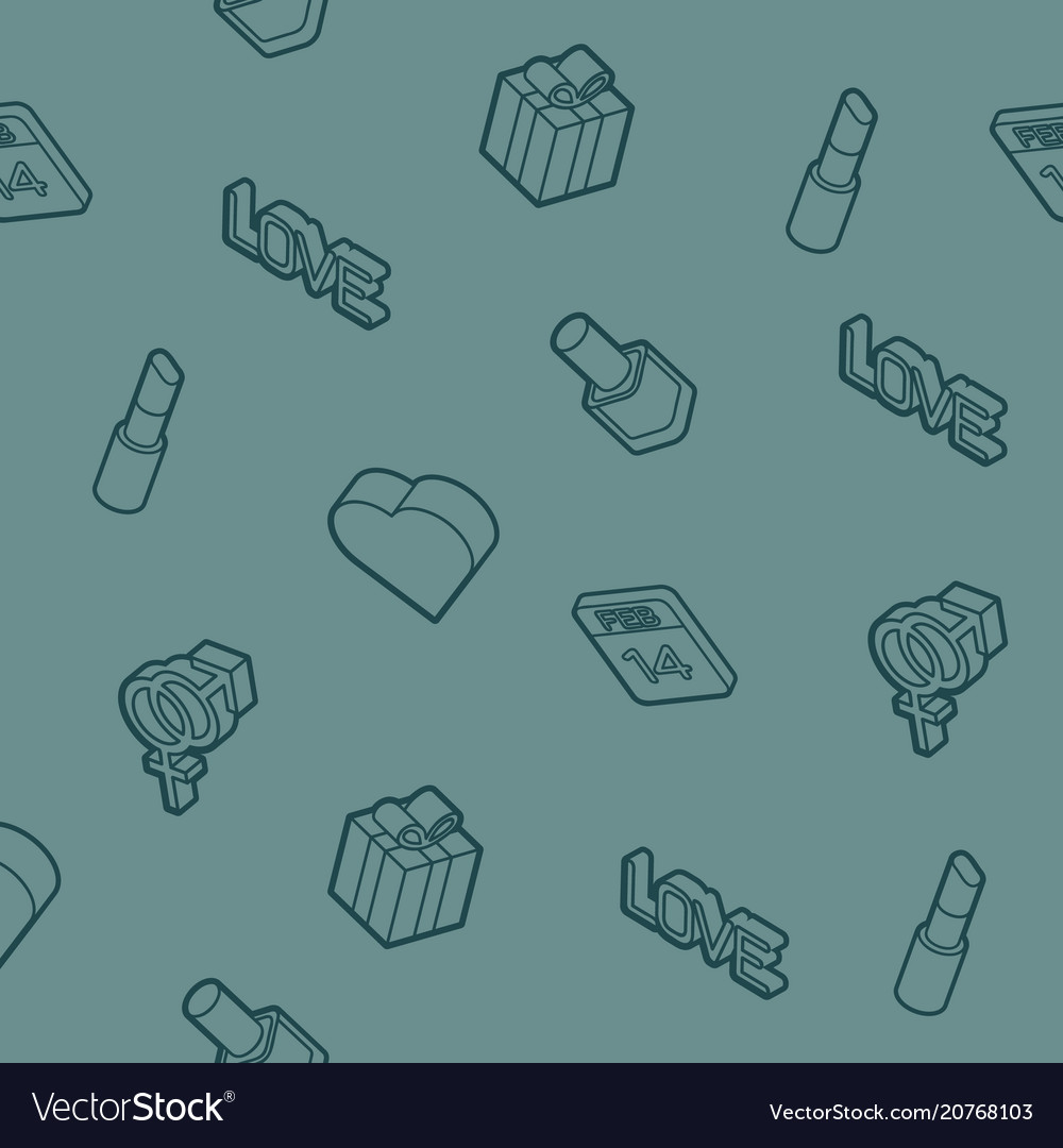 Valentines day outline isometric pattern