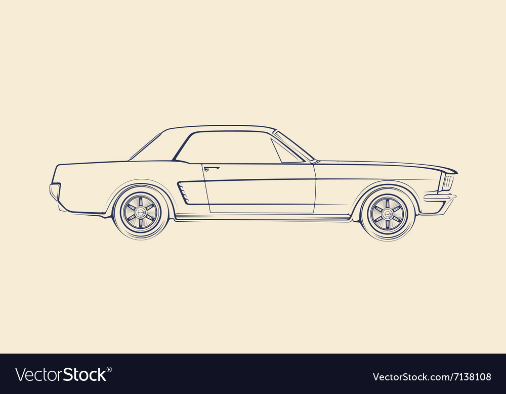 American Muscle Car Silhouette 60s Royalty Free Vector Image