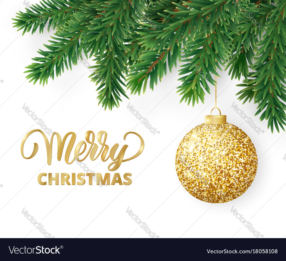 Greeting card with fir tree branches hanging