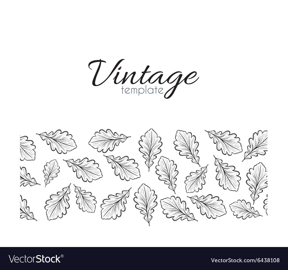 Retro pattern for design of leaves Leaves in