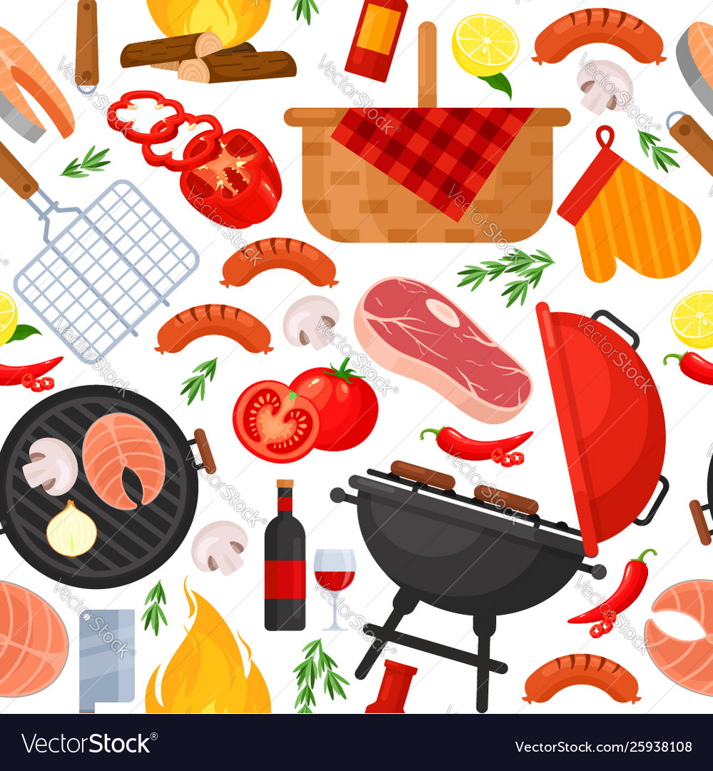 Seamless pattern barbecue bbq party grill