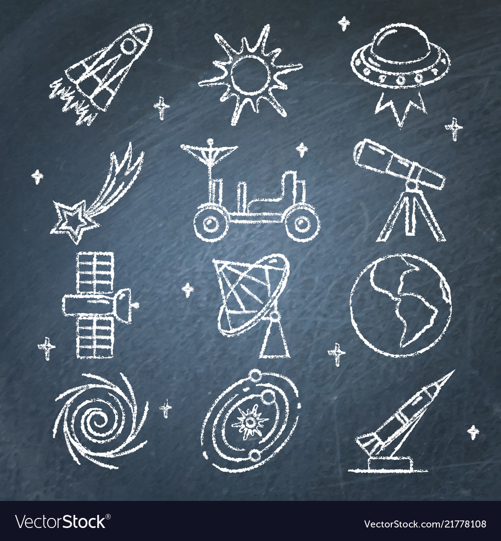 Space icons set on chalkboard in line style