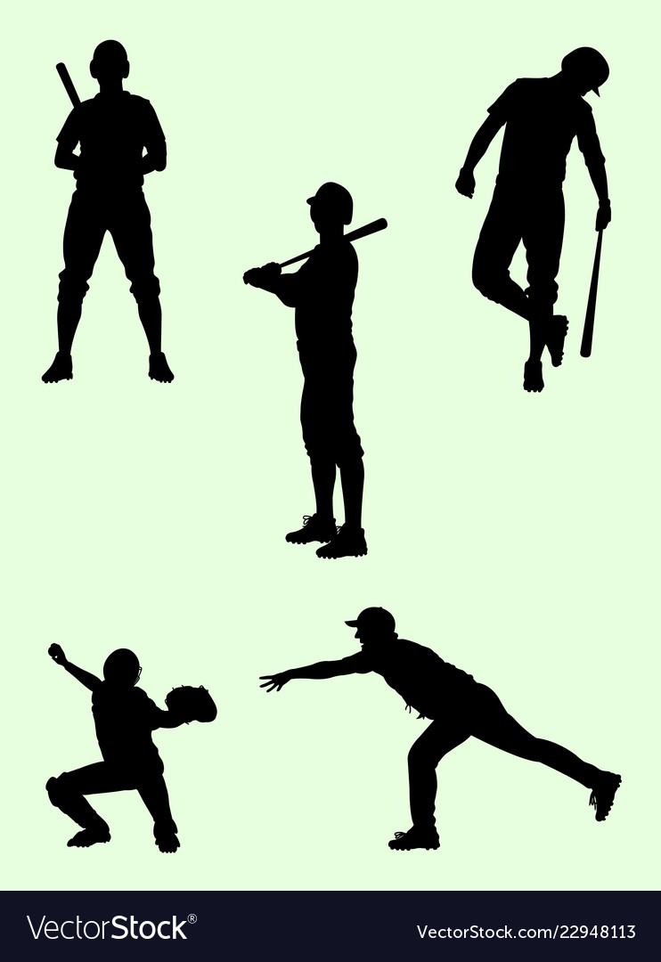 Baseball player gesture silhouette 03